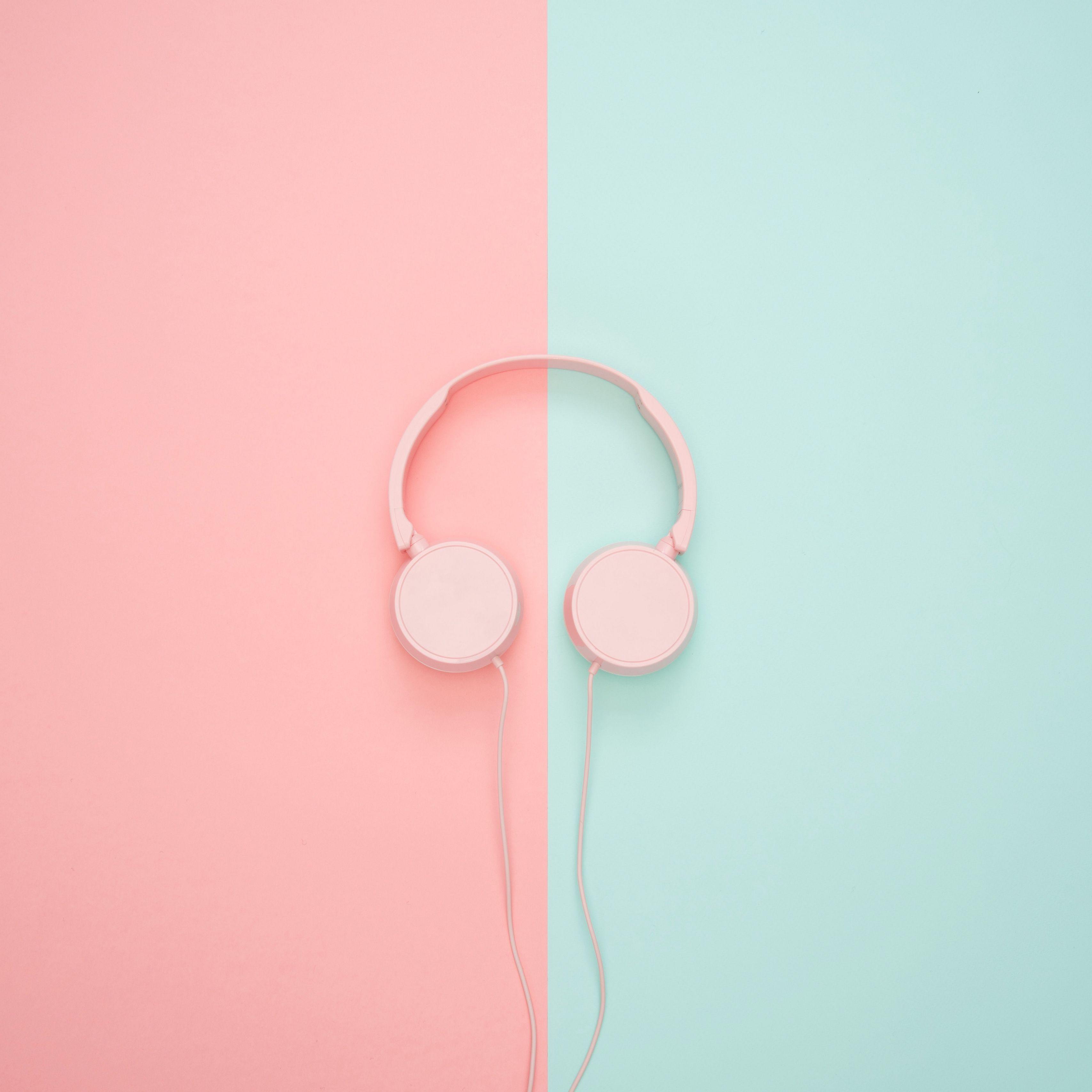 3415x3415 Wallpaper headphones, minimalism, pink, pastel