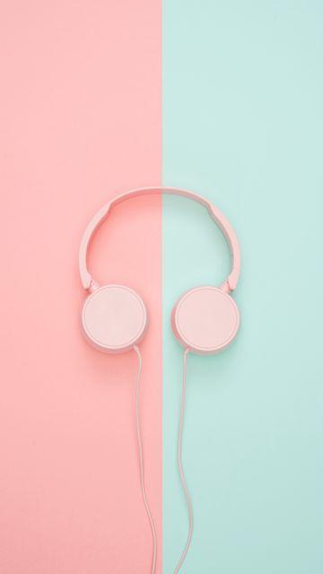 360x640 Wallpaper headphones, minimalism, pink, pastel