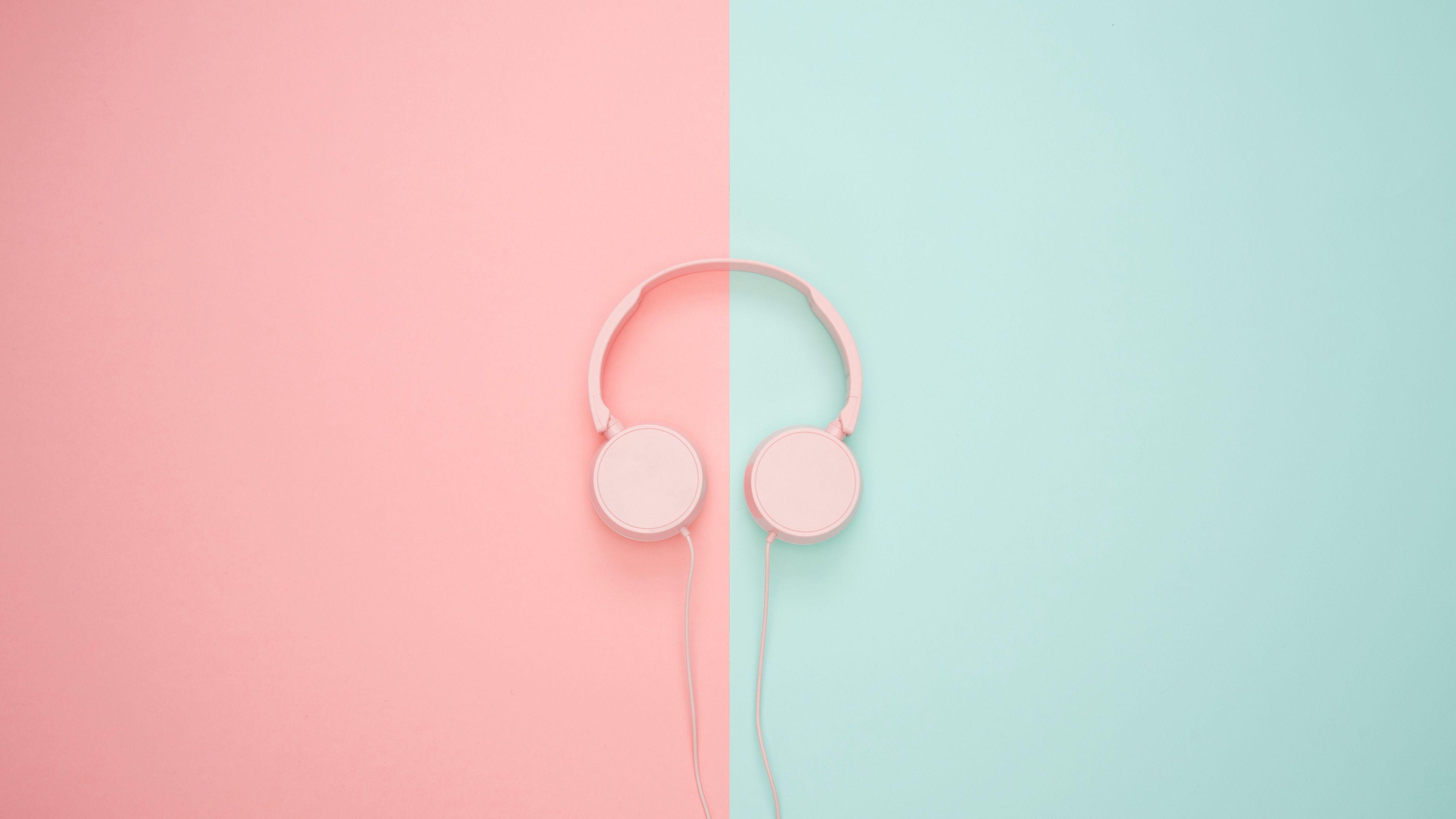 3840x2160 Wallpaper headphones, minimalism, pink, pastel