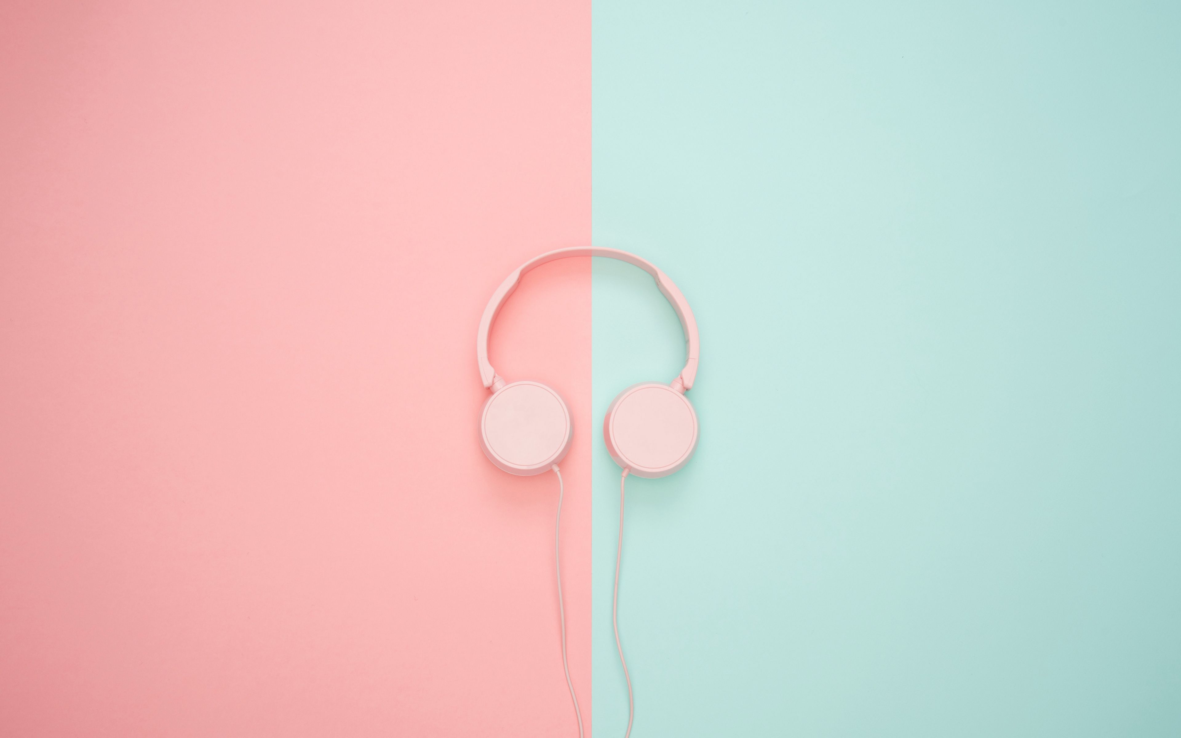 3840x2400 Wallpaper headphones, minimalism, pink, pastel