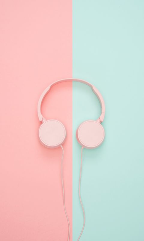 480x800 Wallpaper headphones, minimalism, pink, pastel