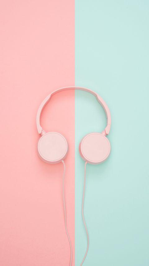 480x854 Wallpaper headphones, minimalism, pink, pastel