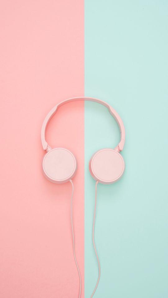 540x960 Wallpaper headphones, minimalism, pink, pastel