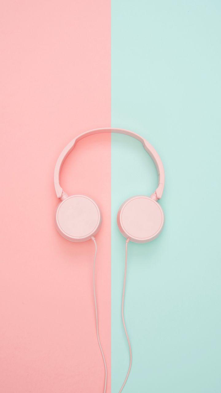 720x1280 Wallpaper headphones, minimalism, pink, pastel
