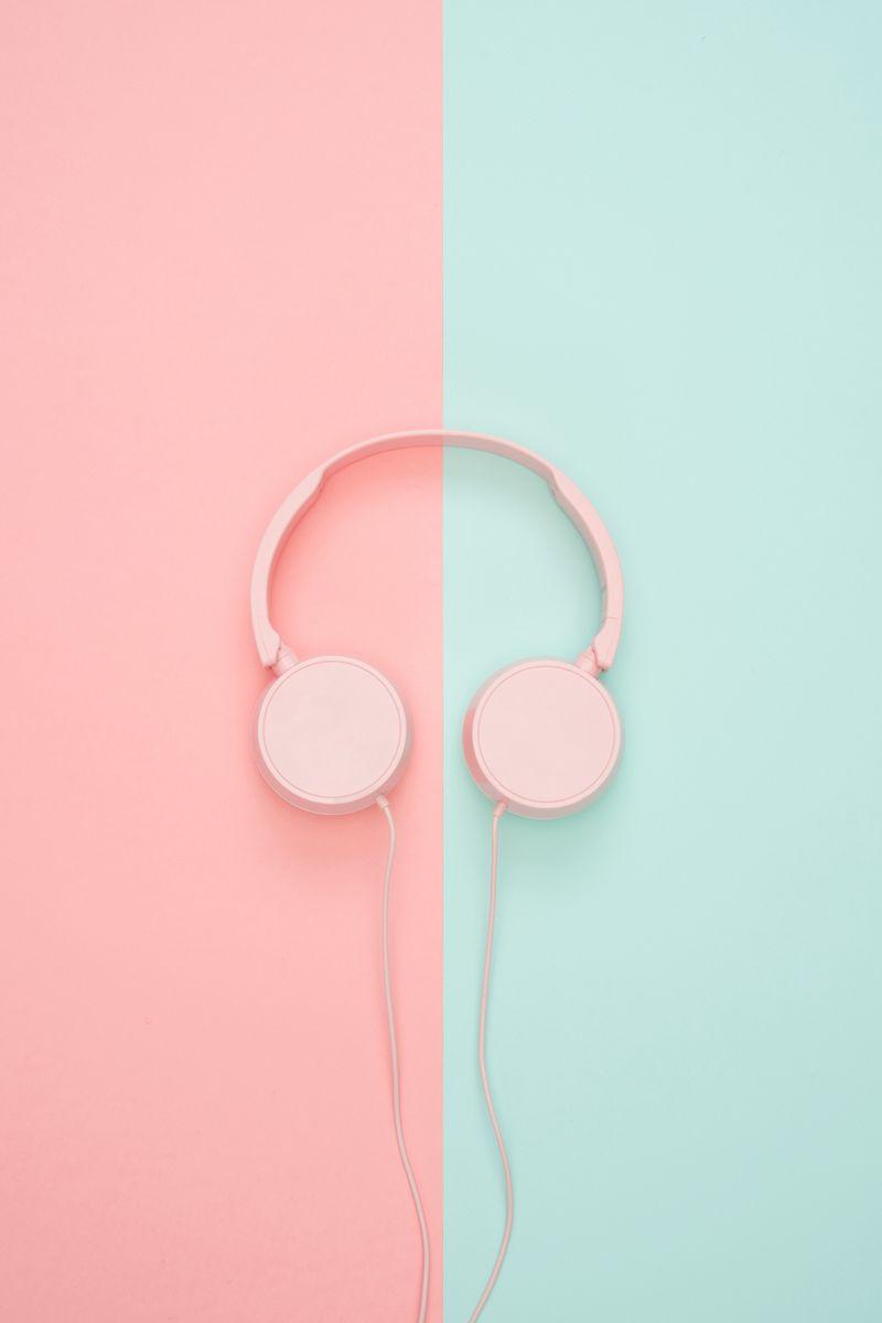 800x1200 Wallpaper headphones, minimalism, pink, pastel