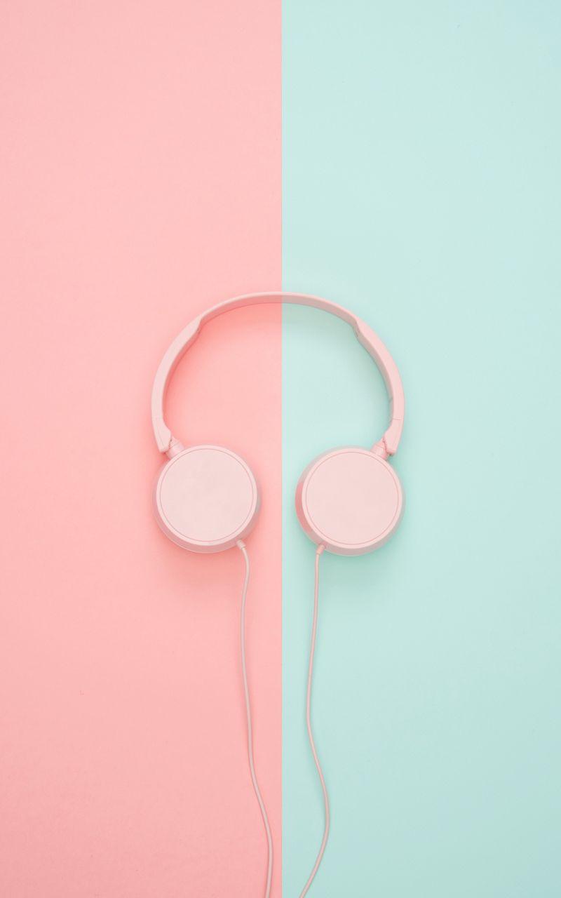 800x1280 Wallpaper headphones, minimalism, pink, pastel