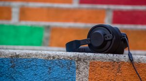 Preview wallpaper headphones, surface, stone