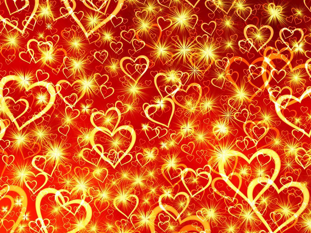 1024x768 Wallpaper heart, art, shine