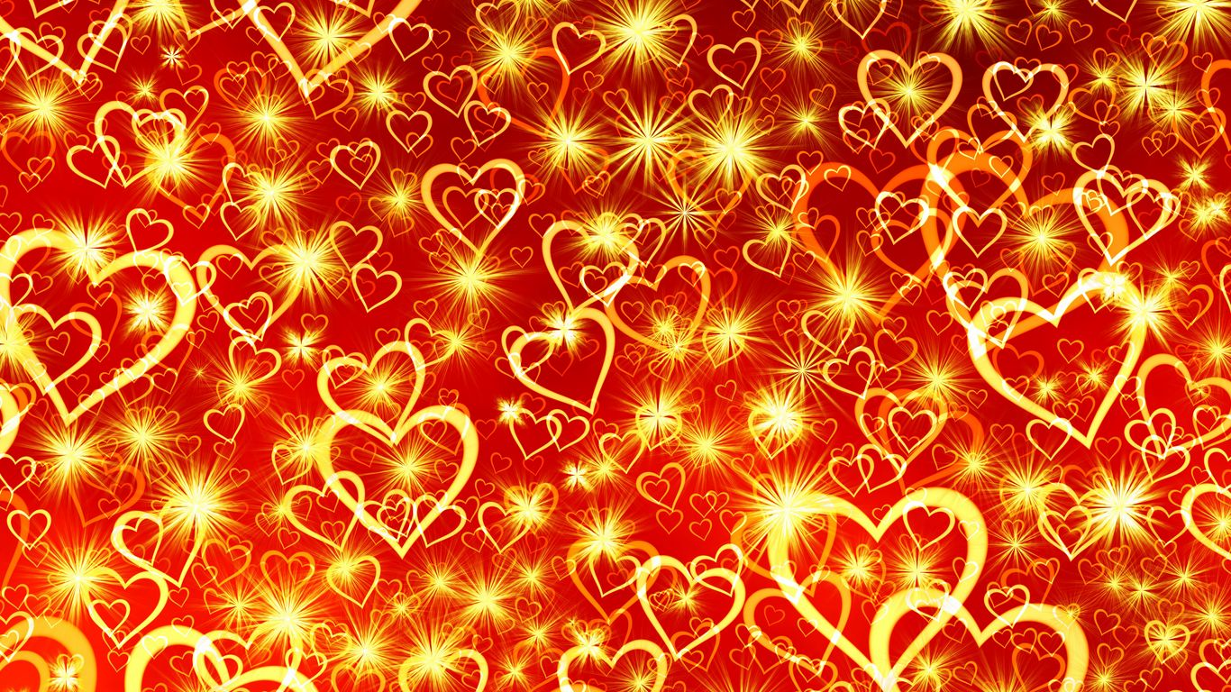 1366x768 Wallpaper heart, art, shine