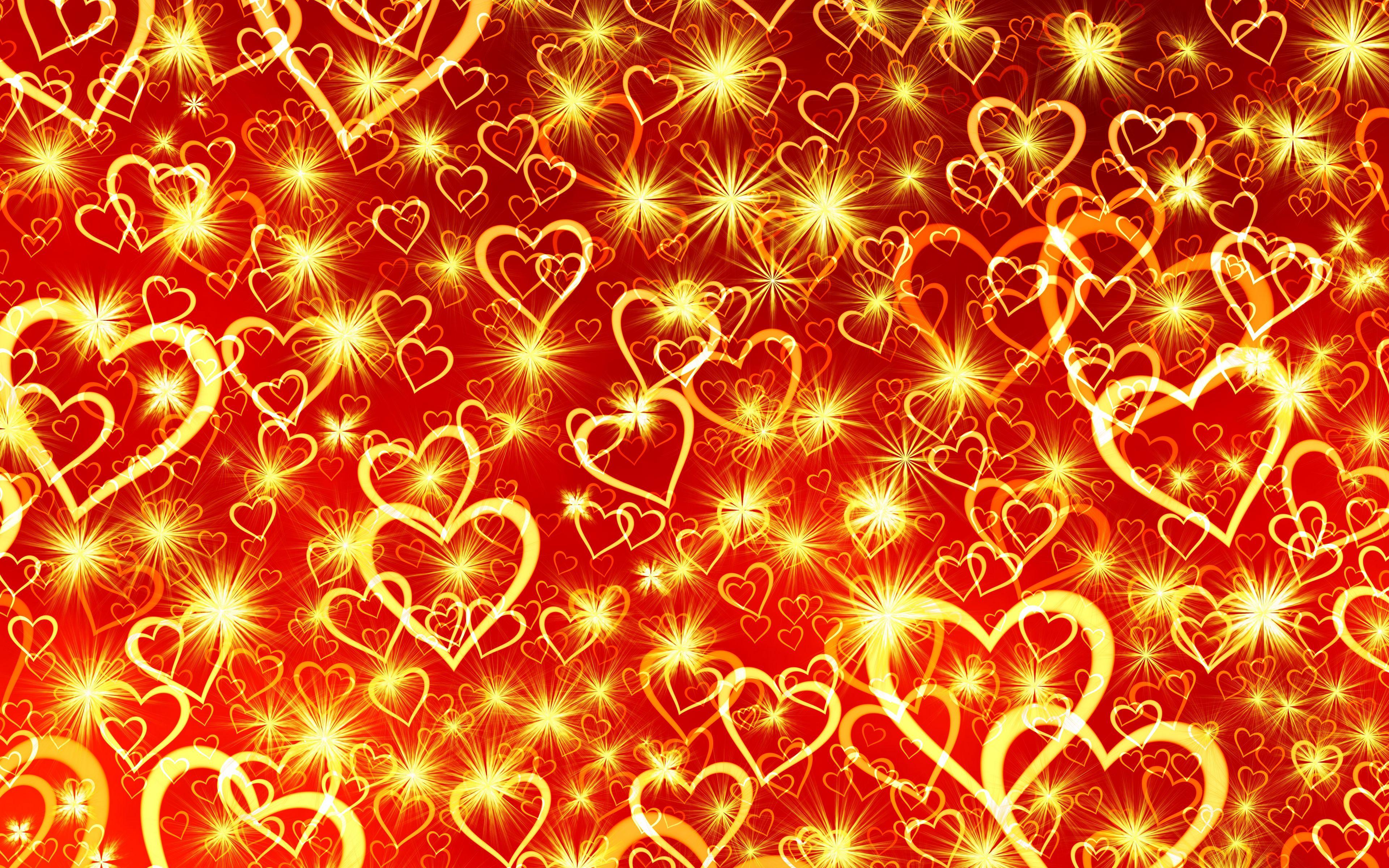 3840x2400 Wallpaper heart, art, shine