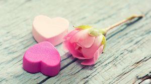 Preview wallpaper heart, flower, tenderness, pink