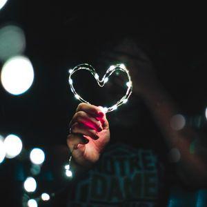 Preview wallpaper heart, hand, light, glitter, glare