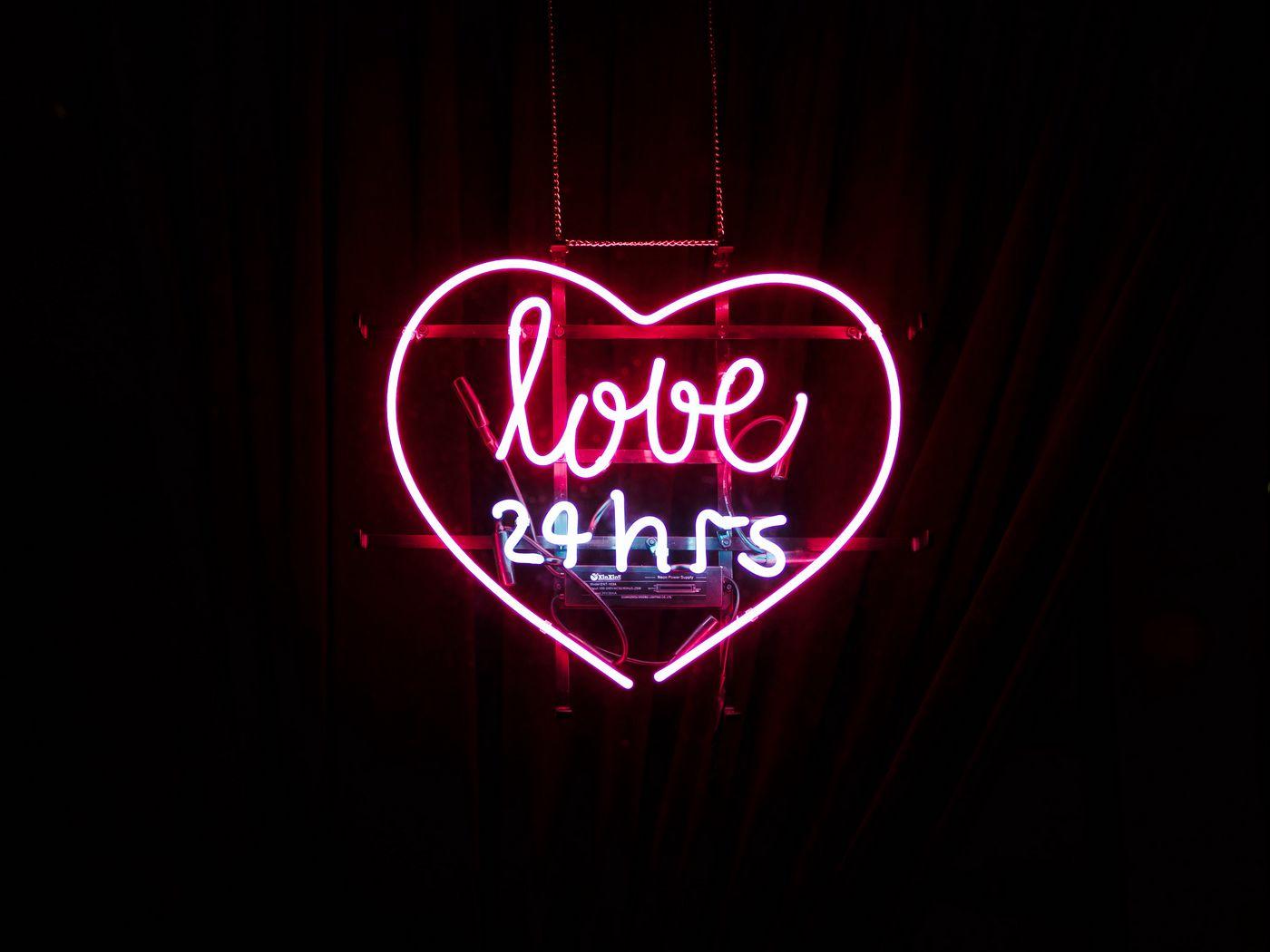 1400x1050 Wallpaper heart, inscription, neon, love