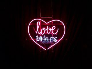 320x240 Wallpaper heart, inscription, neon, love
