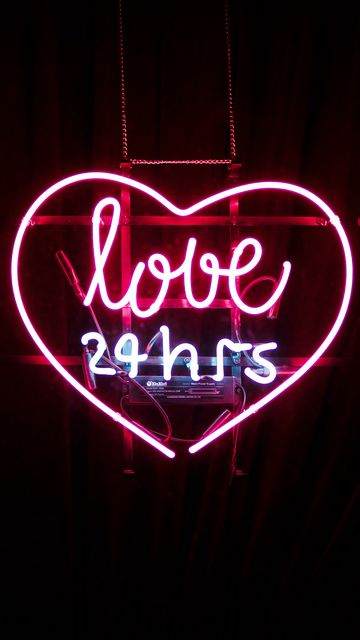 360x640 Wallpaper heart, inscription, neon, love