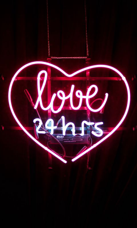 480x800 Wallpaper heart, inscription, neon, love