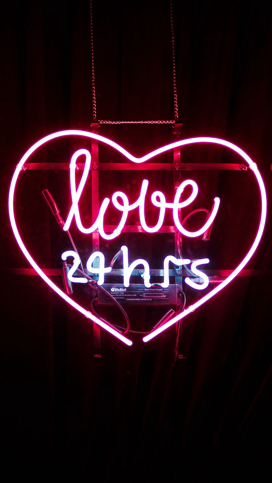 938x1668 Wallpaper heart, inscription, neon, love