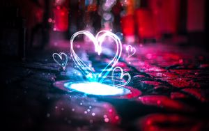 Preview wallpaper heart, light, glare
