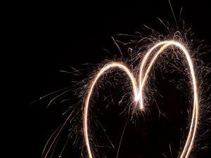 Preview wallpaper heart, light, sparks, long exposure