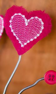 Preview wallpaper heart, love, fabric, rod, pink