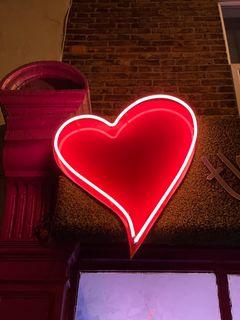 240x320 Wallpaper heart, neon, light, red, love
