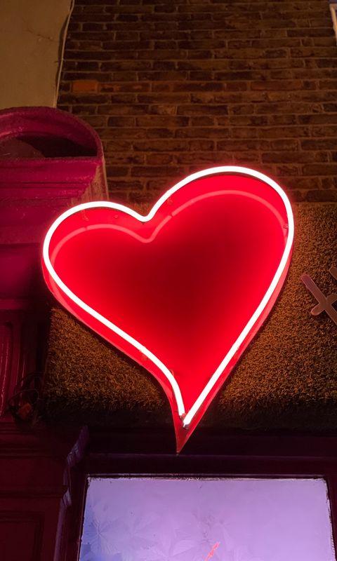 480x800 Wallpaper heart, neon, light, red, love