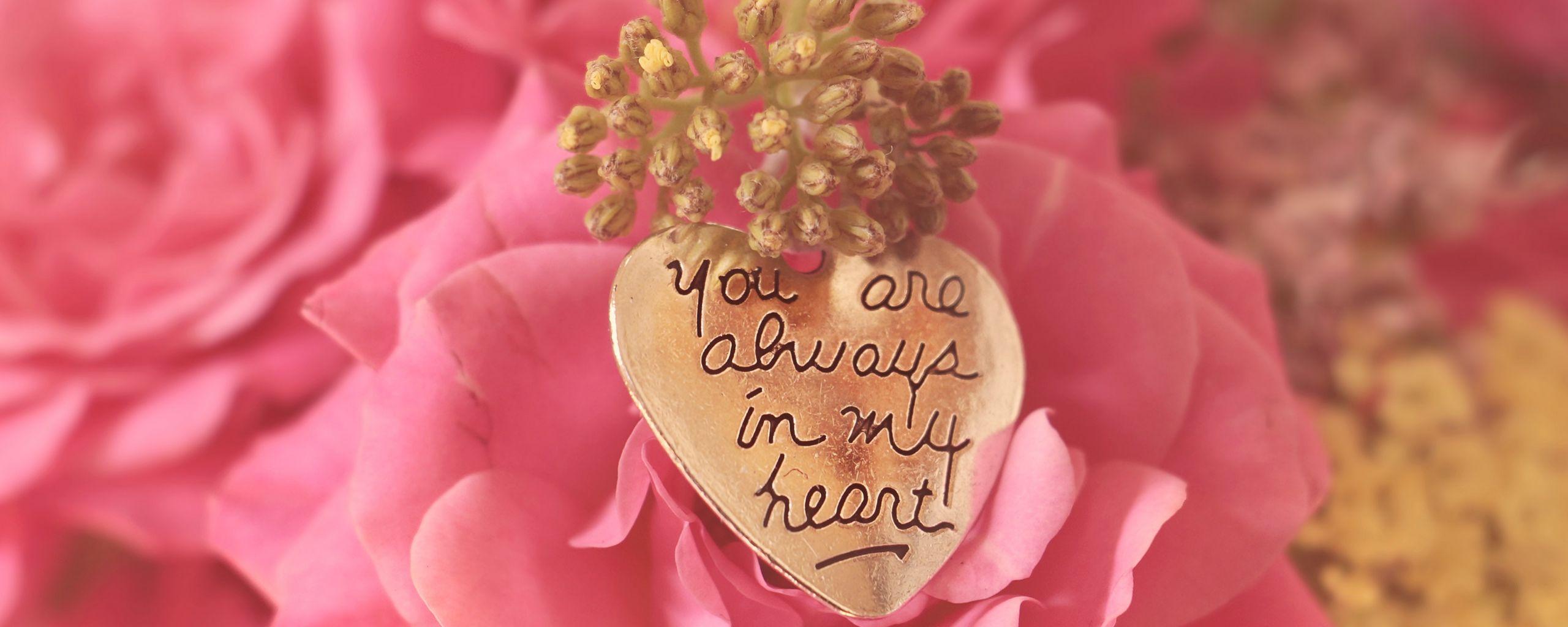 2560x1024 Wallpaper heart, pendant, love, inscription, confession, romance