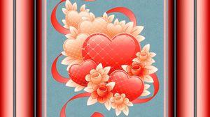 Preview wallpaper heart, ribbon, background, light