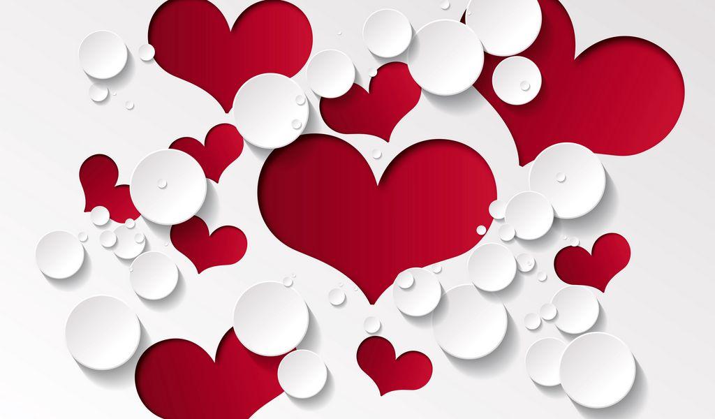 1024x600 Wallpaper heart, shape, pattern