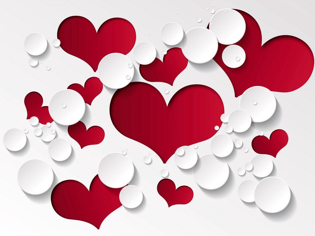 1024x768 Wallpaper heart, shape, pattern