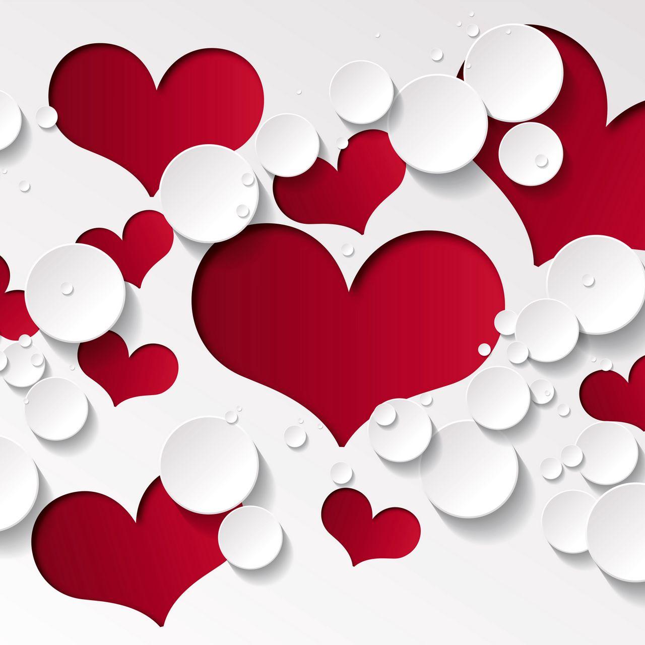 1280x1280 Wallpaper heart, shape, pattern