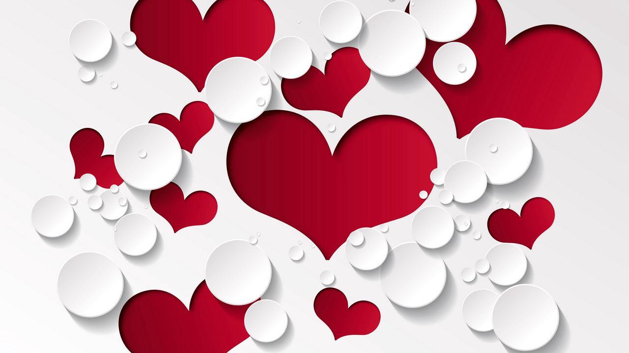 1280x720 Wallpaper heart, shape, pattern