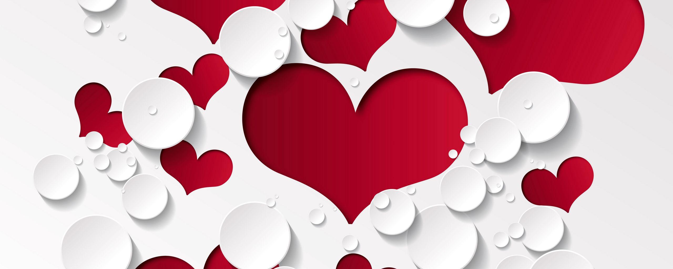 2560x1024 Wallpaper heart, shape, pattern