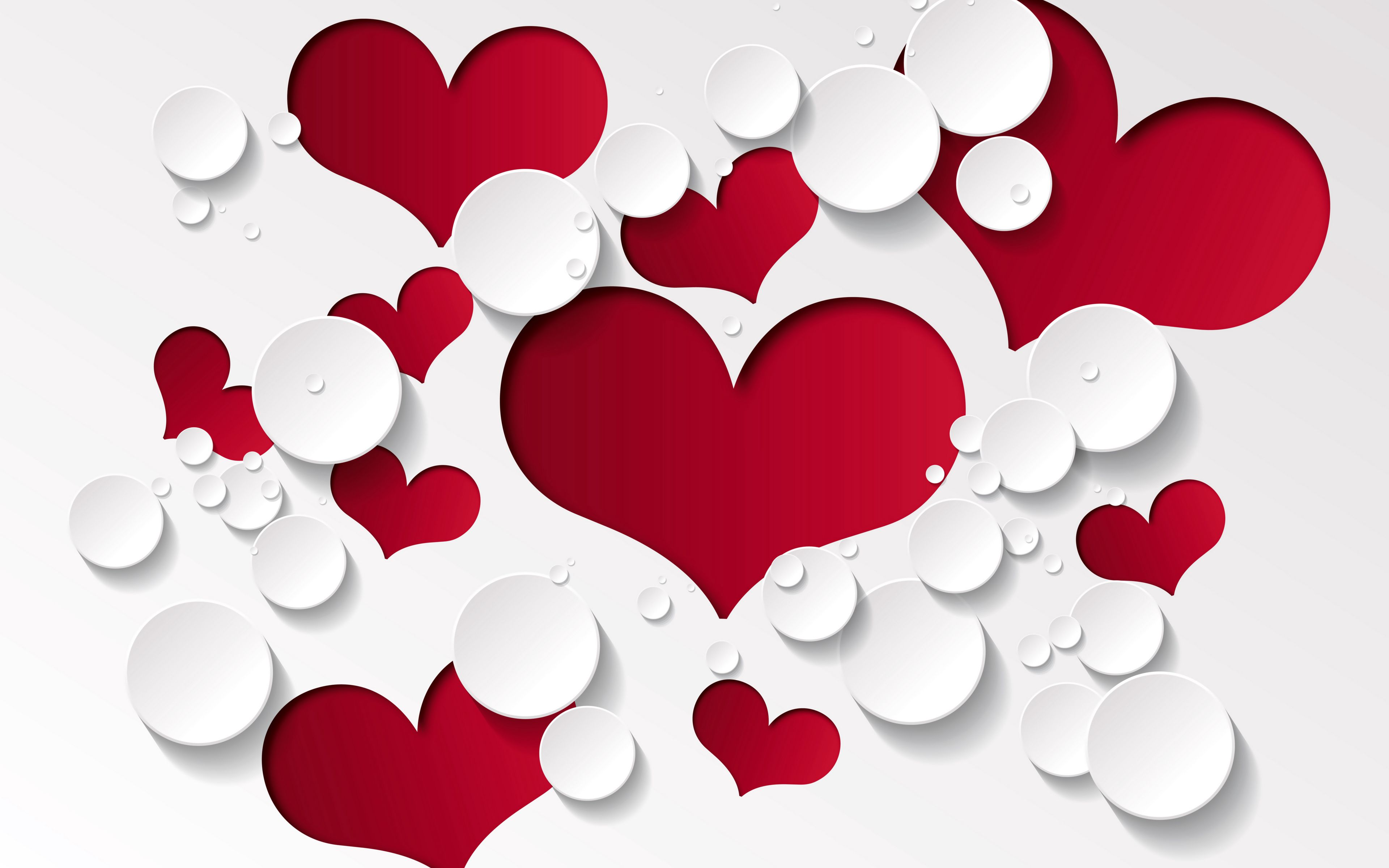 3840x2400 Wallpaper heart, shape, pattern