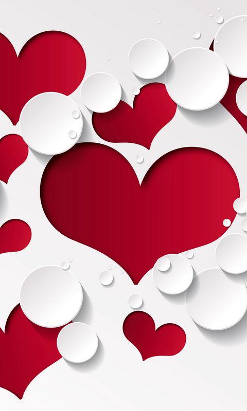 480x800 Wallpaper heart, shape, pattern