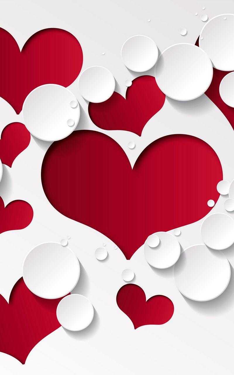 800x1280 Wallpaper heart, shape, pattern