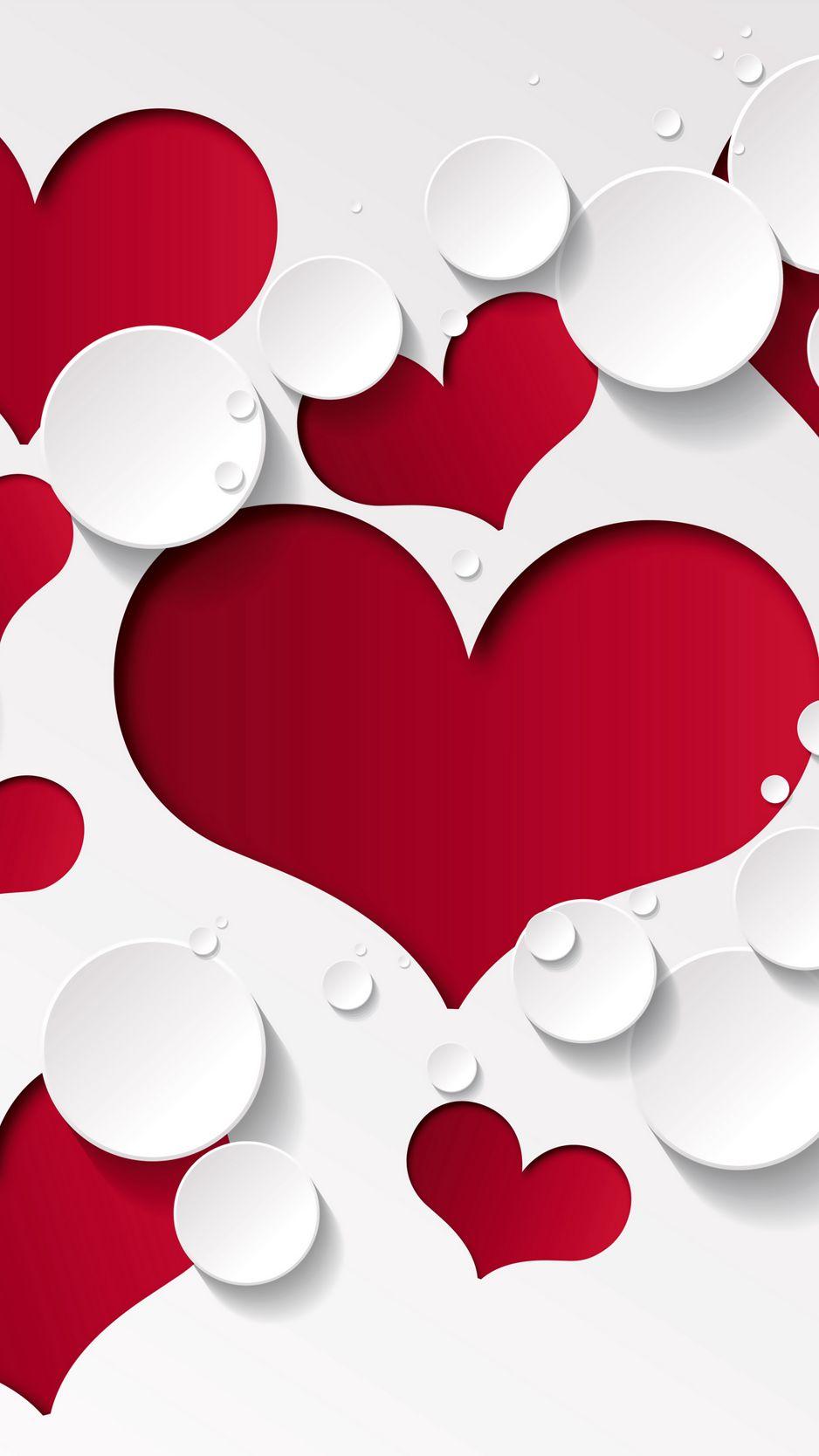 938x1668 Wallpaper heart, shape, pattern