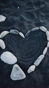 Preview wallpaper heart, stones, love, sand
