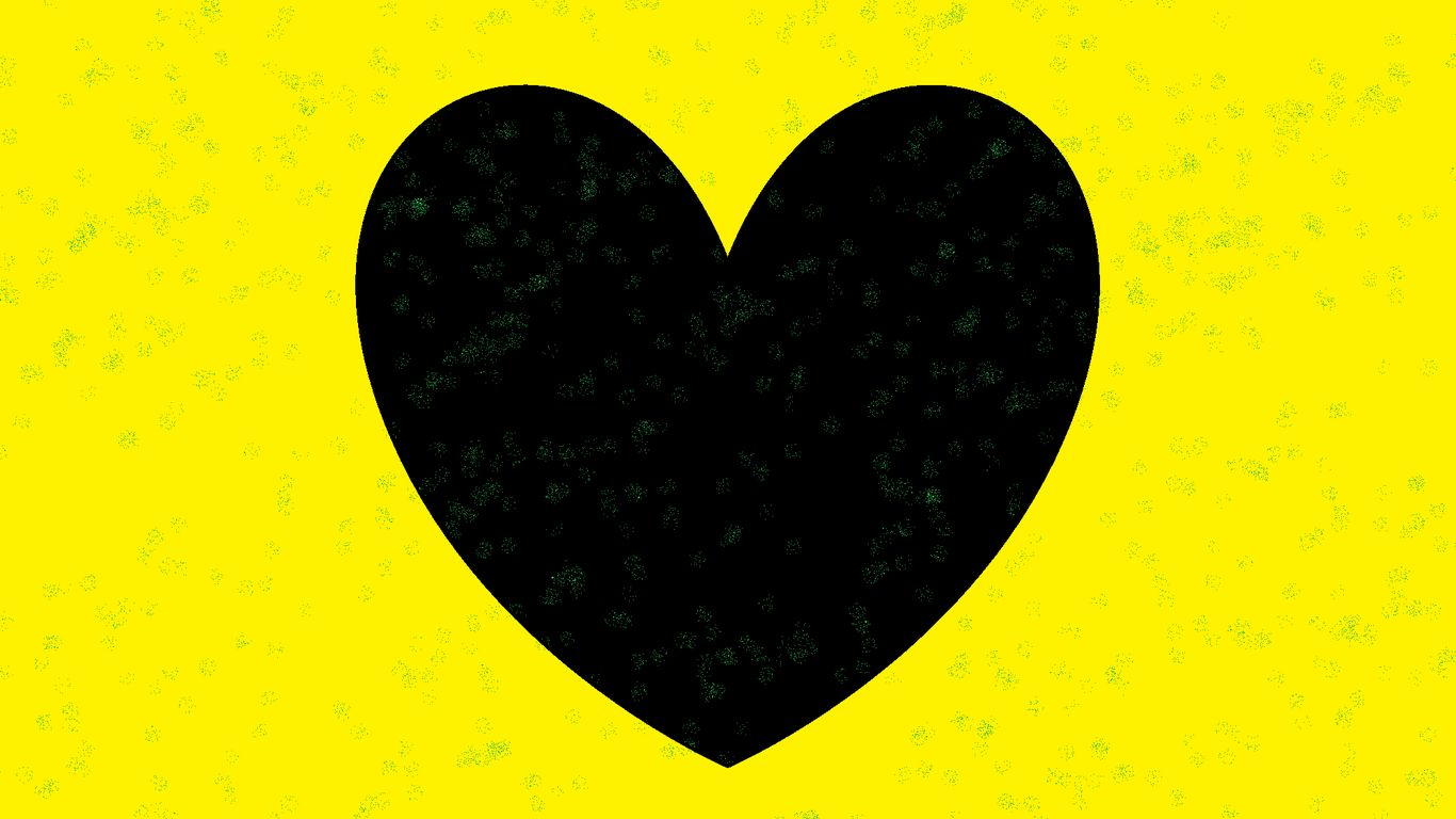 1366x768 Wallpaper heart, yellow, glitter, art