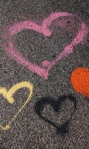 Preview wallpaper hearts, asphalt, paint, love