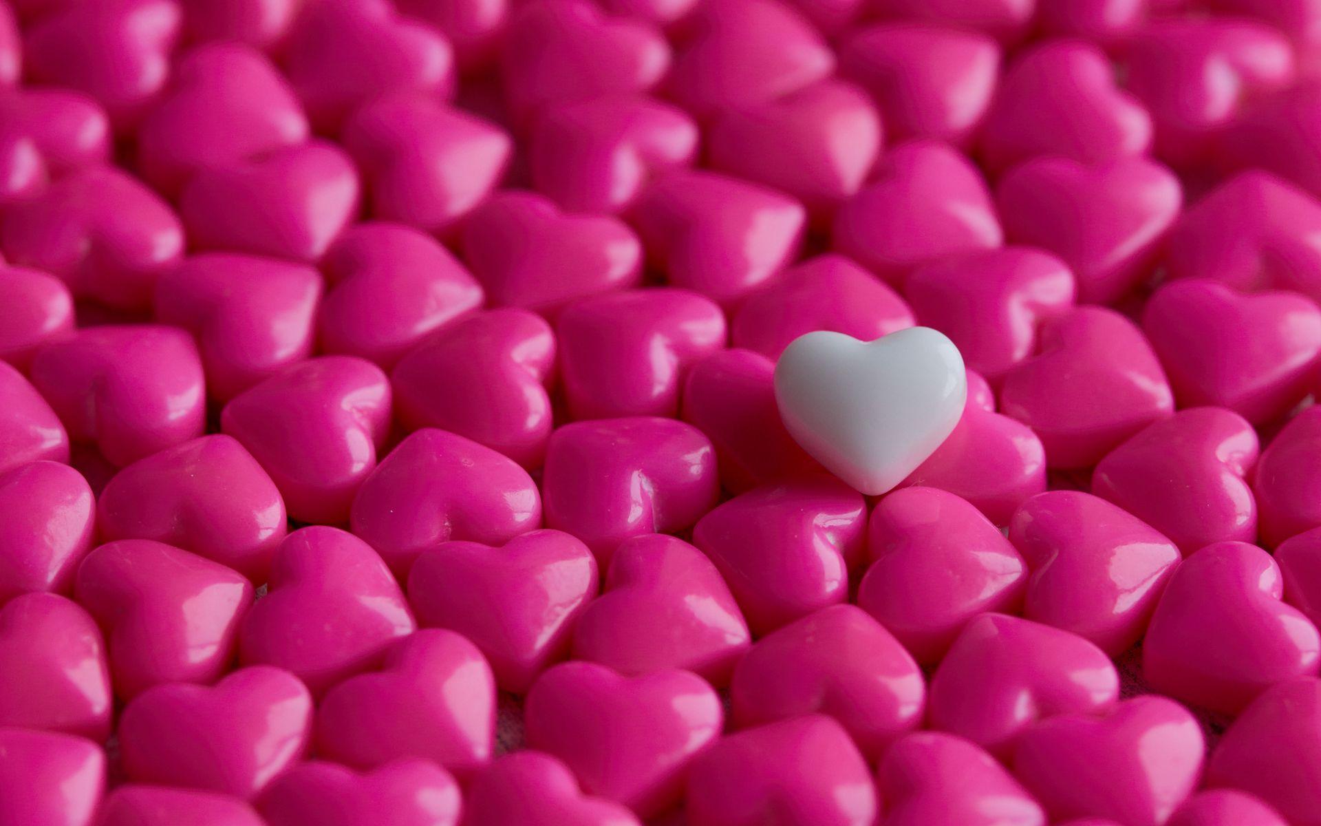 1920x1200 Wallpaper hearts, candy, macro, love