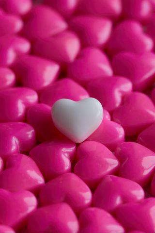 320x480 Wallpaper hearts, candy, macro, love