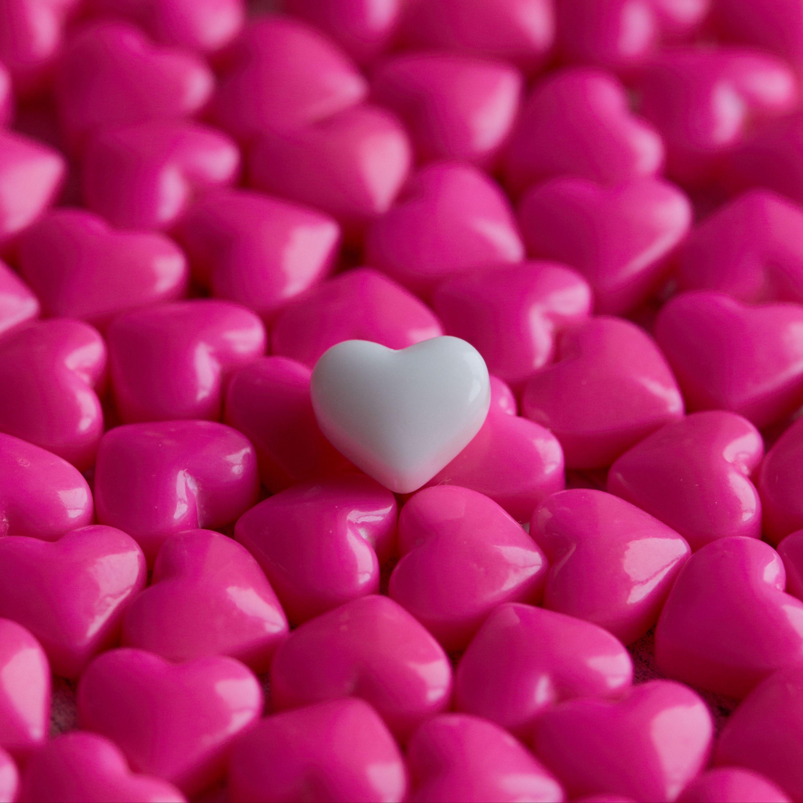 3415x3415 Wallpaper hearts, candy, macro, love