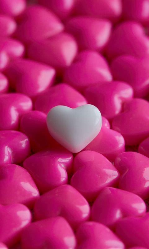 480x800 Wallpaper hearts, candy, macro, love