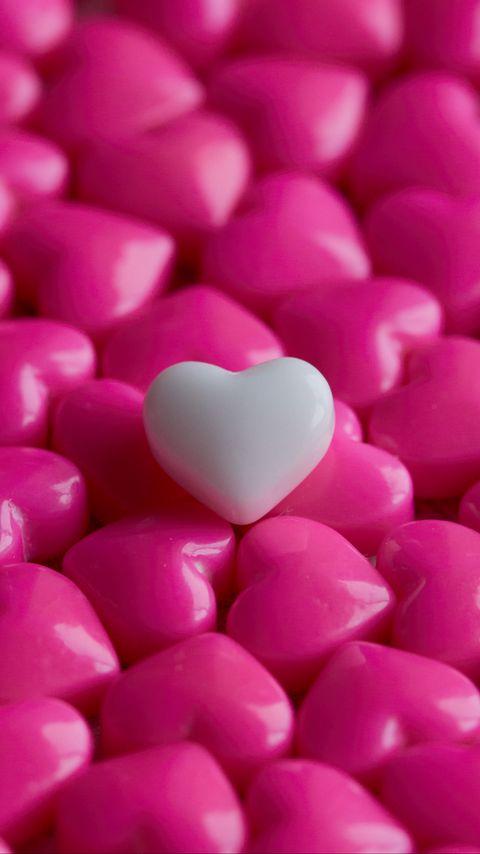 480x854 Wallpaper hearts, candy, macro, love