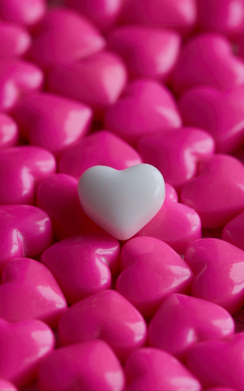 800x1280 Wallpaper hearts, candy, macro, love