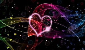 Preview wallpaper hearts, circles, butterflies, colorful
