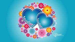 Preview wallpaper hearts, flowers, patterns, bright