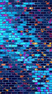 Preview wallpaper hearts, heart, brick, wall, colorful