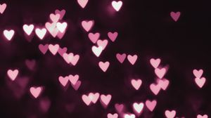 Preview wallpaper hearts, light, abstraction, neon